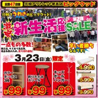 3/23(金)~3/27(火)は激安!新生活応援セール!第2弾!シングルベッドフレーム、伸縮テレビボード、布張り2.5人用ソファーが安い!