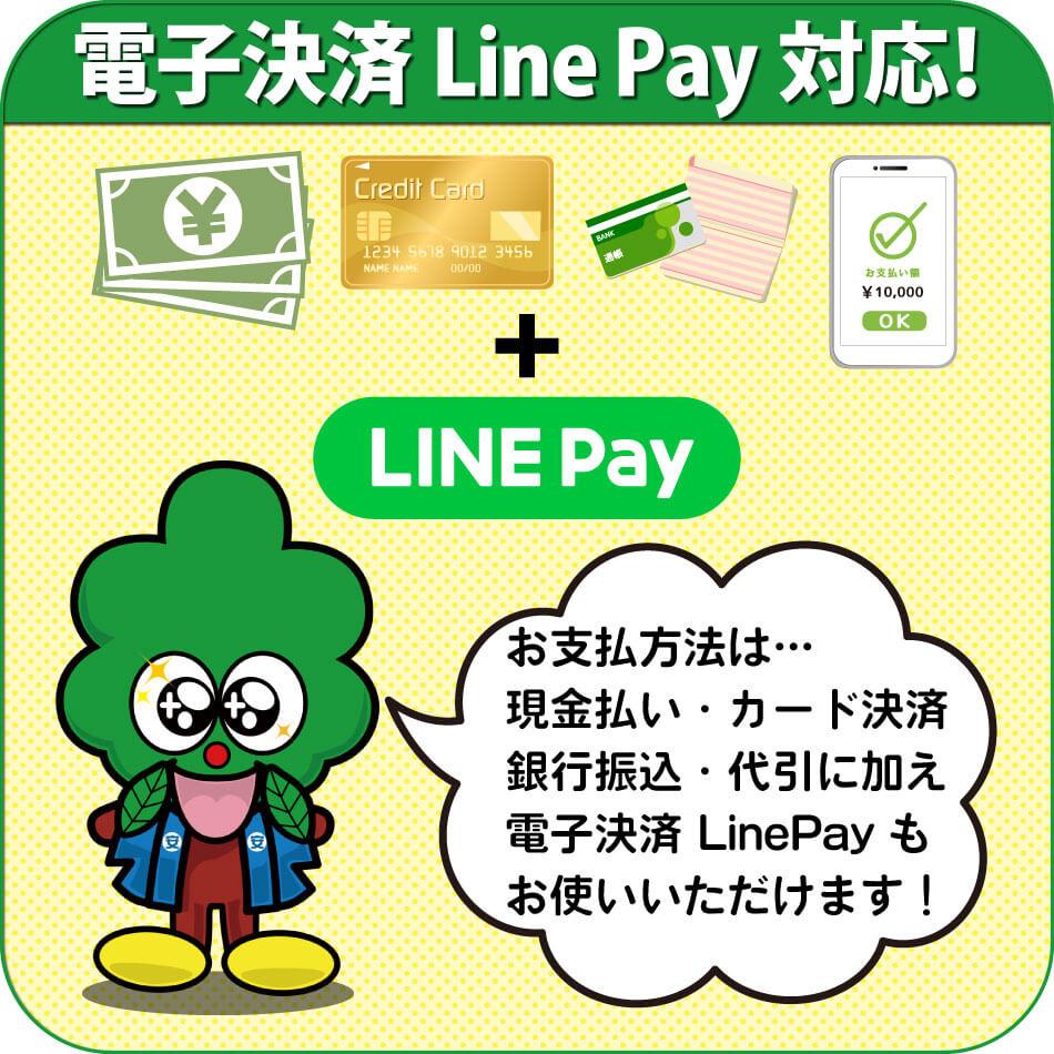 お支払方法は、現金払い・クレジットカード決済・銀行振込・代引に加えて、電子決済の LinePay もお使いいただけます。