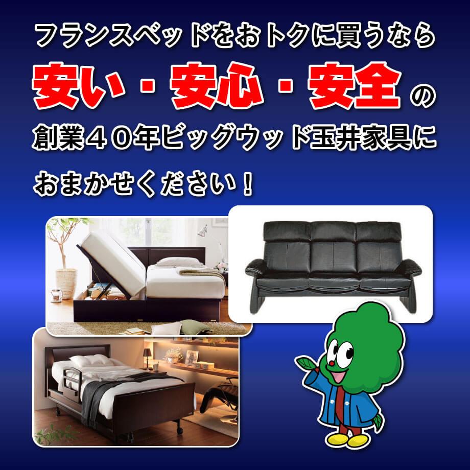フランスベッドをおトクに買うなら、安い・安心・安全、創業40年ビッグウッド玉井家具におまかせください!